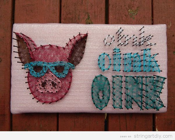 Pig sunglasses string art