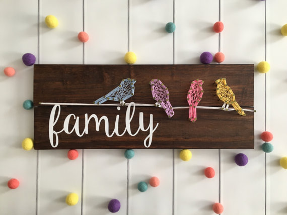 Family Birds String Art