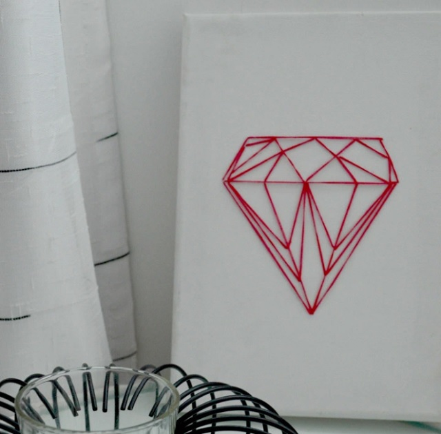Easy String Art Geometric Diamond