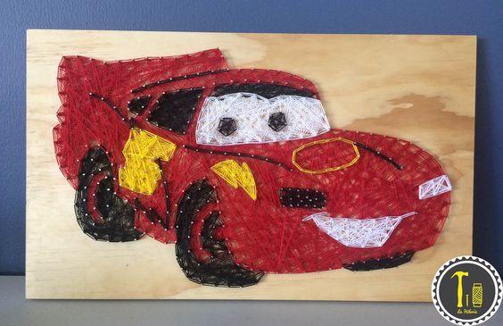 String Art Car Lightning McQueen