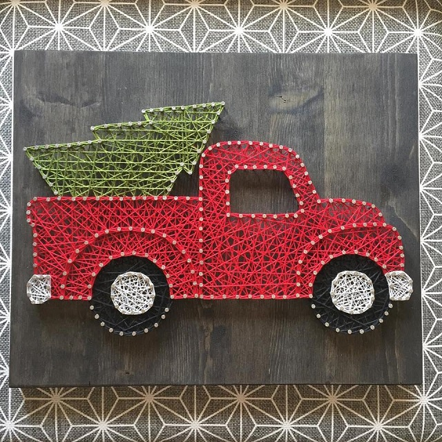 String Art Car Christmas Truck