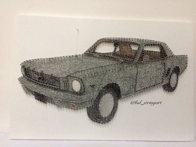 String Art Car Ford Mustang 68
