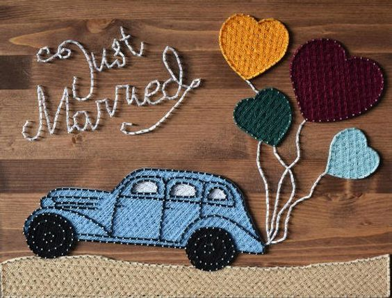 String Art Car Just Married
