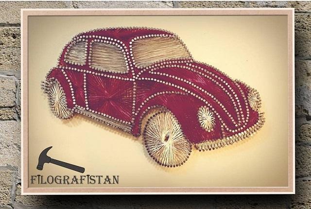 String Art Car Beetle