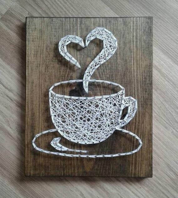 String Art Coffee white heart