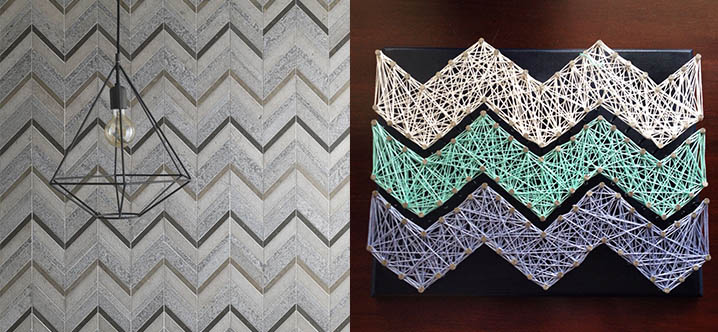 String Art Chevron Mosaic Tiles